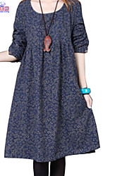 Lady Fall Women Cusual Loose Round Neck Floral Dress Clothes