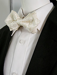 Men's Solid White Paisley Bow Tie Pre-tied Dress Wedding Blend Ajustable SilkBlend Wedding