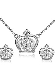 T&C Women's Exquisite 18K White Gold Plated Simulated Diamond Princess Crown Pendant Necklaces Earrings Jewelry Sets