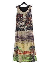 Women's Loose Dress,Print Round Neck Midi Sleeveless Summer