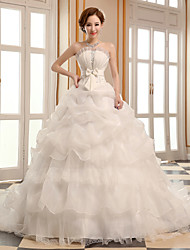 A-line Wedding Dress Cathedral Train Scalloped-Edge Organza with
