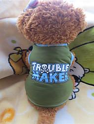 Cães Camiseta Verde Verão Carta e Número