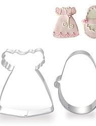 2 piezas conjunto de vestido y del calzado forma cortadores de galletas de frutas cortadas moldes de la niña de acero inoxidable