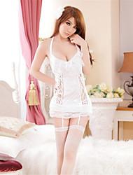 Damen Roben Besonders sexy Nachtwäsche einfarbig Spitze Weiß