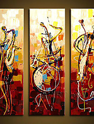 handgemalten Wandkunst abstrac Wohnkultur spielen Instrumente Ölgemälde auf Segeltuch 3pcs / set kein Rahmen