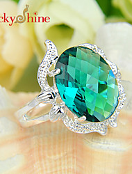 Lucky Shine Women's Men's Unisex 925 Silver Fashion Fire Oval Green Quartz Crystal Gemstone Wedding Rings