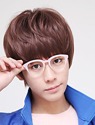South Korea Fashion Students Hair Straight Liu Haixiu Face handsome Bulk Natural Curly Wig Brown Wig
