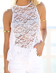 Women's Lace White/Black Vest , Round Neck Sleeveless Hollow Out/Backless