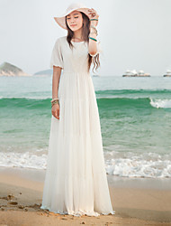 Women's Casual/Maxi Inelastic ½ Length Sleeve Maxi Dress (Chiffon)