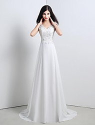 A-line / Princess Wedding Dress Sweep / Brush Train Straps Chiffon with