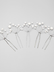 Women/Flower Girl Alloy/Imitation Pearl Hairpins With Imitation Pearl Wedding/Party Headpiece(5Pieces)