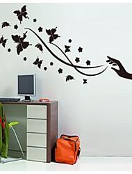pur orchidée noire et noir papillon parure stickers muraux