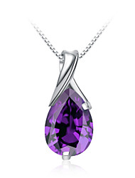 Jazlyn® Woman Platinum Plated 925 Sterling Silver Purple Cubic Zirconia Drops Necklace Pendant Valentine's Day Gift