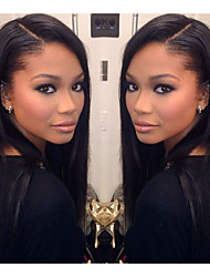100% Unprocessed Brazilian Human Hair 18inch Full Lace Wig Silky Straight Natural Black