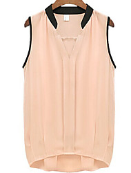 Women's Pink/White Blouse , V Neck Sleeveless