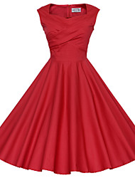 Maggie Tang Women's 50s Vintage Rockabilly Hepburn Pinup Business Swing Dress,Plus Size