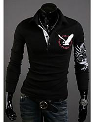Men's Shirt Collar T-Shirts , Cotton Blend Long Sleeve Casual Hollow Out All Seasons HI MAN