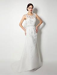 A-line Sweep/Brush Train Wedding Dress -Bateau Tulle