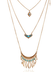 Blue Multilayer Tissue C Shape Peandant Layered Necklace
