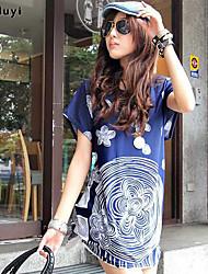 Mulheres Camiseta Casual Simples / Moda de Rua Verão,Estampado Azul Seda Decote Redondo Manga Curta Fina