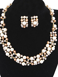 Fashion Sweet Bride Pearl Necklace and Earrings Set