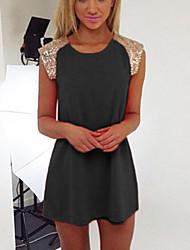 Women's Chiffon Sequin Cap Sleeves Crew Neck Mini Dress