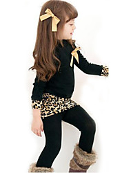 Girl's Cotton/Polyester Cute Leisure  Long Sleeve Clothing Set