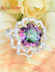 Lucky Shine Women's Men's Unisex 925 Silver Fashion Fire Stars Colored Mystic Topaz Crystal Gemstone Holiday Gift Rings