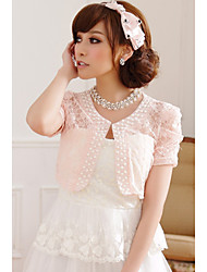 casamento envolve manga curta laço de poliéster / doces boleros preto branco rosa shrug bolero / /