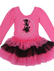 Ballet Dresses Children's Performance Cotton / Spandex Cascading Ruffle / Lace / Pattern/Print 1 Piece Fuchsia / Pink