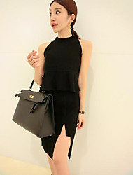 Women's Black Blouse , Halter Sleeveless