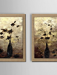 Oil Painting Decoration Flower Hand Painted Natural linen with Stretched Framed - Set of 2