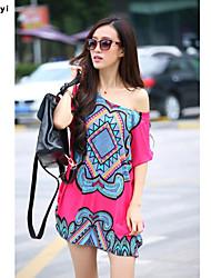 Tee-shirt Femme,Géométrique Imprimé Décontracté / Quotidien simple Chic de Rue Eté Manches Courtes Col Arrondi Multi-couleur Soie Fin
