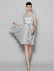 Knee-length Chiffon / Lace Bridesmaid Dress - Silver Plus Sizes / Petite A-line Bateau