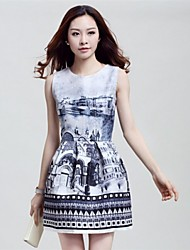 Women's Print Blue/Gray Dress , Casual Crew Neck Sleeveless Ruched