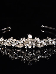 Bridal Crown Silver Tiara Queen Flower Leaf Butterfly Crystal/Diamond  Leaf Hairclips Headpiece Wedding/Party