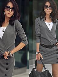 Women's Dresses , Knitwear/Roman Knit Sexy/Casual/Work Long Sleeve K.M.S