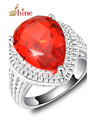 Lucky Shine Women's Men's Unisex Silver Unique Rings With Gemstone Fire Drop Red Quartz Crystal Party Gift