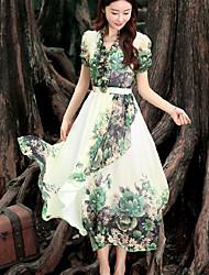 Mulheres Vestido Chifon / Swing Vintage Estampado Médio Decote V Poliéster