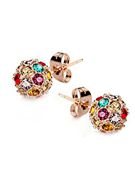 T&C Women's Elegant Colourful Crystal Ball Stud Earrings 18k Rose Gold Plated Cz Diamond Party Jewelry