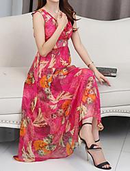 Damen Kleid - Swing Leger Geometrisch Maxi Seide V-Ausschnitt
