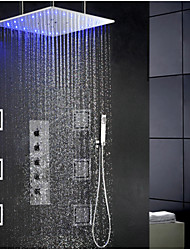 Swash And Rainfall Bathroom LED Shower Faucet Set, 20 Inch Ceil Mounted Shower Head And 6 Pcs Big Spa Body Massage Spray