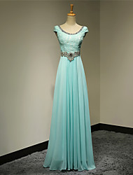 Formal Evening Dress A-line Scoop Floor-length Chiffon with Beading