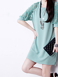 Women's Casual Lace Plus Sizes Micro-elastic ½ Length Sleeve Above Knee Dress (Mesh Polyester)
