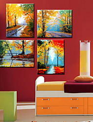 Oil Painting Decoration Scenery Hand Painted Canvas with Stretched Framed - Set of 4