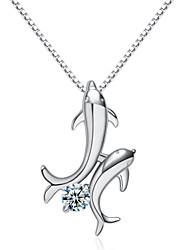jazlyn® femme plaqué platine argent 925 sterling aimer dauphin cube charme de zircone collier pendentif pour le cadeau