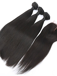 3Pcs Lot Peruvian Virgin Hair Straight Weft With 1Pcs Middle Part Lace Closure Human Hair Extensions