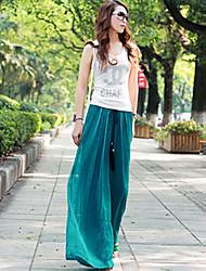 Women's Beach Casual Inelastic Medium Loose Pants (Chiffon Silk)