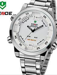 WEIDE Men Fashion Sports Analog & Digital LED Display Multi-functional Full Stainless Steel Wrist Watch