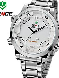 hombres WEIDE analógico deportes de la moda& llevado digital mostrar reloj de pulsera de acero inoxidable completo multifuncional